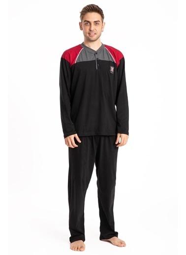 Pemilo Erkek 745 Cepli Uzun Kol Yazlık Pijama Takımı SİYAH Siyah